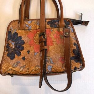 PATRICIA NASH floral leather crossbody top handles